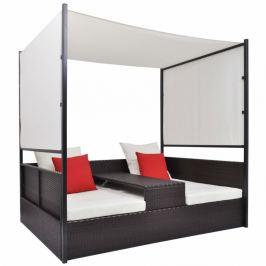 Ratanová postel s baldachýnem Hnědá