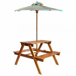 Dětský piknikový stůl se slunečníkem akácie Dekorhome