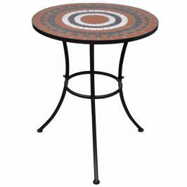 Mozaikový bistro stůl keramika Dekorhome Bílá / oranžová
