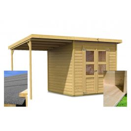 Dřevěný zahradní domek 370 x 236 cm s přístavkem a podlahou Dekorhome