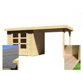 Dřevěný zahradní domek s přístavkem a podlahou 491 x 238 cm Dekorhome