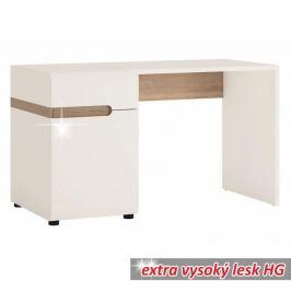 PC stůl LYNATET TYP 80 bílá vysoký lesk / dub sonoma tmavý truflový Tempo Kondela