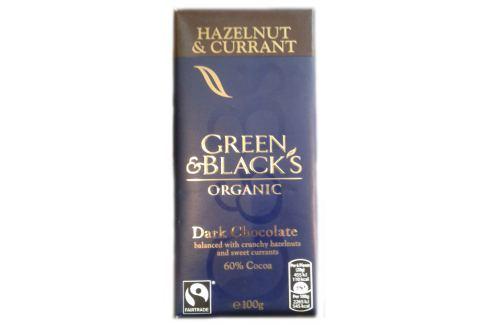 BIO hořká čokoláda s lískovými oříšky a rozinkami 60% Green & Black's 100 g BIO tabulková čokoláda