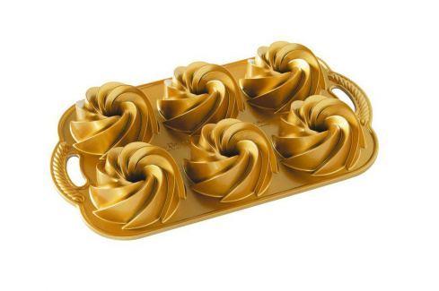 Nordic Ware Forma na 6 malých bábovek zlatá 6 x 160 ml Formy na bábovku