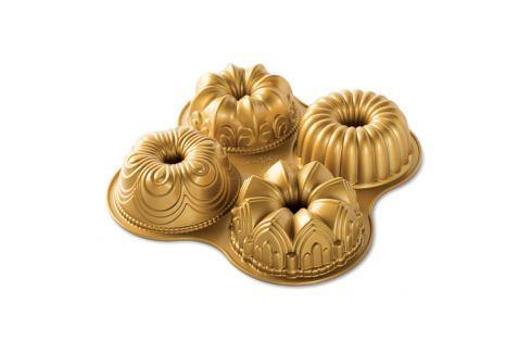 Nordic Ware Forma na 4 bábovky Bundt Quartet zlatá 4 x 530 ml Formy na bábovku