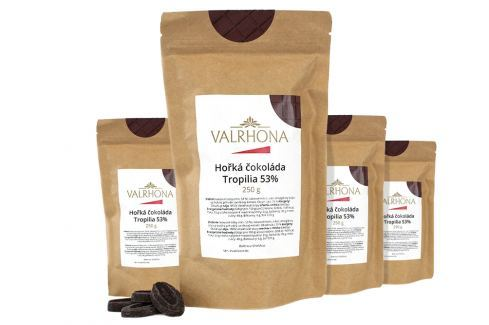 Hořká čokoláda Tropilia Valrhona 53% 1 kg (4 x 250 g) Čokoláda na vaření