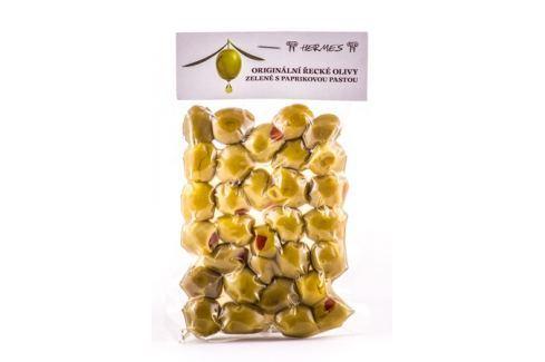 Zelené olivy s paprikovou pastou Hermes 150 g Nakládané speciality