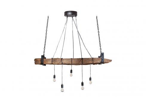 Moebel Living Dřevěné závěsné světlo Raw 152 cm Osvětlení
