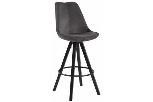 Barová židle Damian, samet, tmavě šedá/černá SCHDN0000075810 SCANDI Barové židle