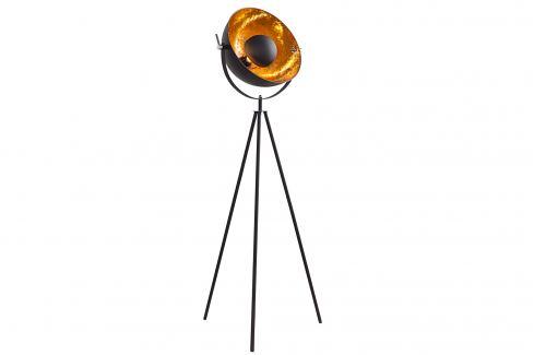 Moebel Living Černozlatá kovová stojací lampa Hollywood Stojací lampy