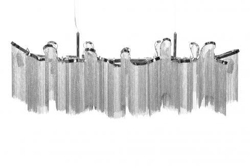 Moebel Living Stříbrné závěsné světlo Elle 118 cm Závěsná svítidla