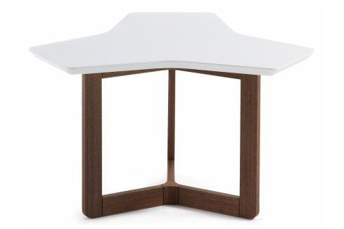 Konferenční stolek LaForma Triangle 76 cm, bílá/ořech C269L05 La Forma Konferenční stolky