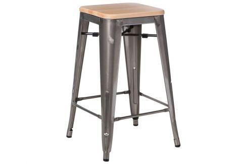 Barová židle Tolix 65, metalická/světlé dřevo | -30 % S94579 CULTY + Barové židle