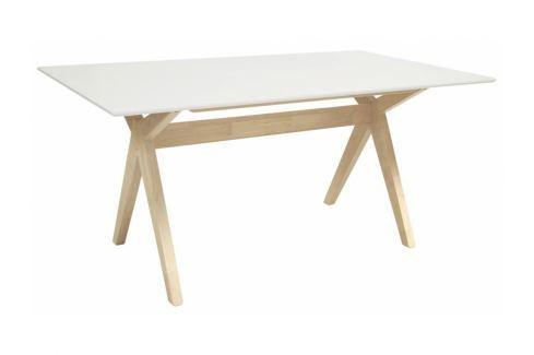 Jídelní stůl Crosso 160x90 cm, bílá/přírodní SCHDN10223-2 SCANDI Lakované