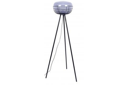 Kouřově modrá skleněná stojací lampa ZUIVER SMOKEY 145 cm Stojací lampy