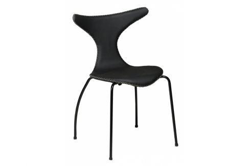 Židle DanForm Dolphin, pravá kůže, černá, kovová podnož DF100295502 DAN FORM Pokoj a jídelna - Jídelní židle