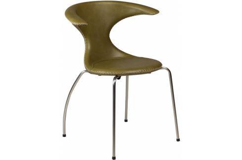 Židle DanForm Flair, zelená, pravá kůže, podnož matný chrom DF100801592 DAN FORM Pokoj a jídelna - Jídelní židle