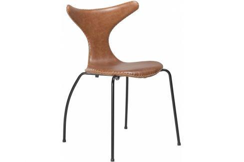Židle DanForm Dolphin, světle hnědá, pravá kůže, černá podnož DF100295903 DAN FORM Pokoj a jídelna - Jídelní židle