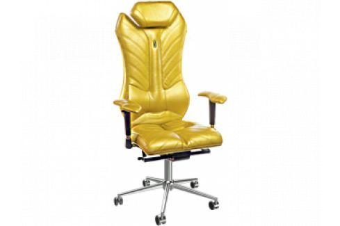 Kancelářské křeslo Monarch, látka/kůže/ekokůže (Zlatá)  KS-0202 Kulik System Kožené