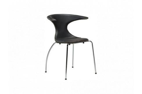 Židle DanForm Flair, černá, pravá kůže, podnož chrom DF100221222 DAN FORM Pokoj a jídelna - Jídelní židle