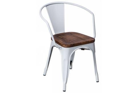 Jídelní židle Tolix 45 s područkami, bílá/tmavé dřevo 72810 CULTY Pokoj a jídelna - Jídelní židle