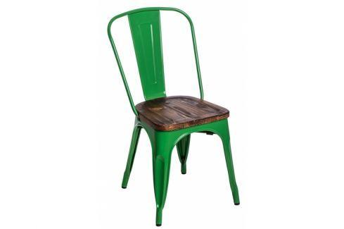 Jídelní židle Tolix 45, tmavě zelená/tmavé dřevo 72720 CULTY Pokoj a jídelna - Jídelní židle