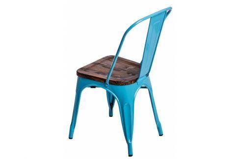Jídelní židle Tolix 45, modrá/tmavé dřevo 72726 CULTY Pokoj a jídelna - Jídelní židle