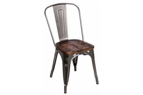 Jídelní židle Tolix 45, metalická/tmavé dřevo 72729 CULTY Pokoj a jídelna - Jídelní židle