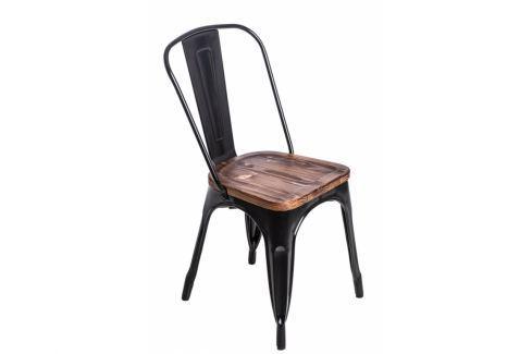 Jídelní židle Tolix 45, černá/tmavé dřevo 72744 CULTY Pokoj a jídelna - Jídelní židle