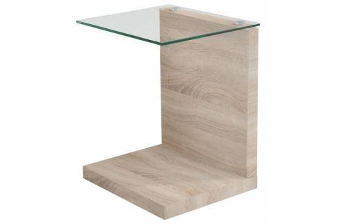 Noční stolek Stand, sklo/dub SCHDN0000060907 SCANDI Noční stolky