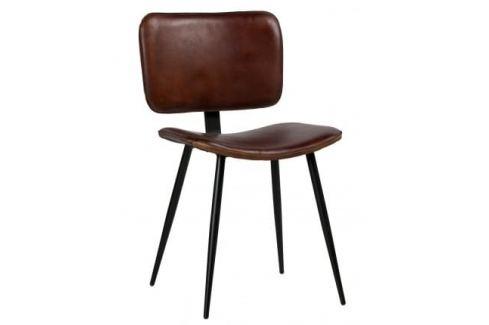 Hoorns Koňakově hnědá kožená židle Alorn Skladovky