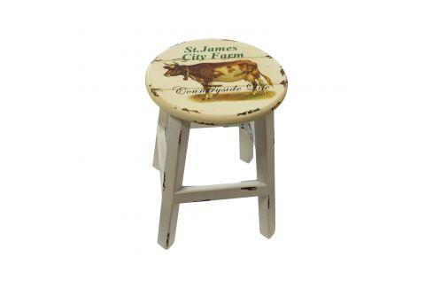 Stolička bílá/kráva antik Ložnice - Bytové doplňky