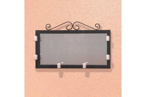Zrcadlo/svícen dekorace kov černý Úložné prostory - Nábytek do chodby