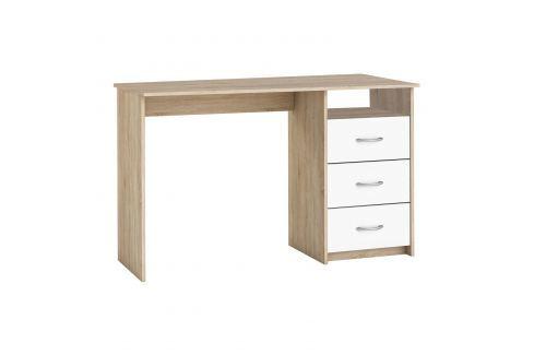 Psací stůl dub/perleťově bílá Pracovna - Psací a PC stoly