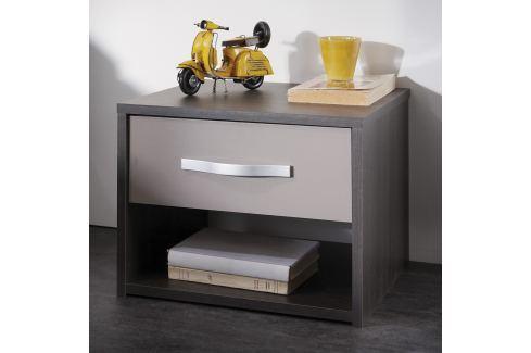 Noční stolek GRAPHIC tmavý dub/šedá Pokoj a jídelna - Stoly a stolky - Noční stolky