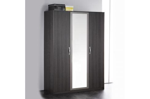 Skříň 3dveřová GRAPHIC tmavý dub/šedá Úložné prostory - Skříně