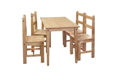 Stůl + 4 židle CORONA 2 vosk 161611 Pokoj a jídelna - Jídelní sestavy