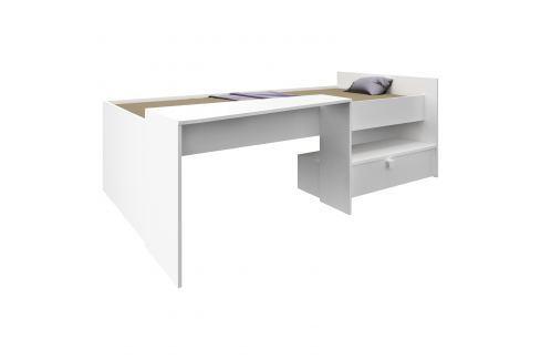 Postel 90x200 s psacím stolem BONY perleťově bílá Ložnice - Postele