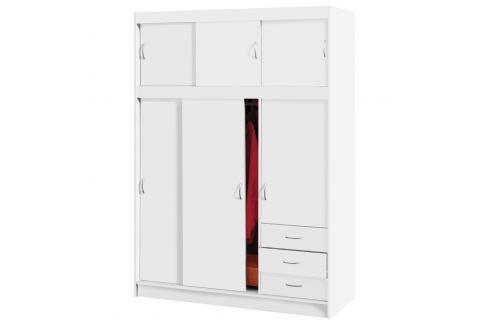 Skříň s posuvnými dveřmi 3000 bílá Úložné prostory - Skříně