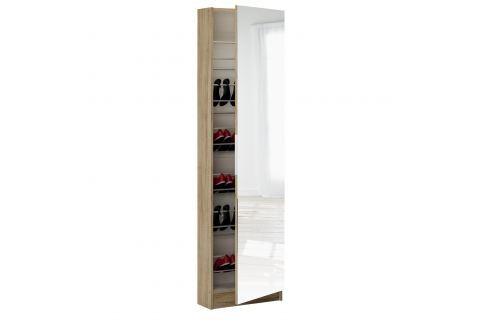 Botník se zrcadlem 305097 dub Úložné prostory - Nábytek do chodby