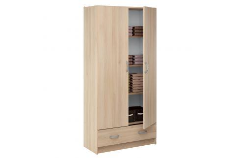 Skříň policová 2 dveře + 1 zásuvka BEST dub Úložné prostory - Skříně