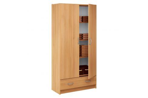 Skříň policová 2 dveře + 1 zásuvka BEST buk Úložné prostory - Skříně