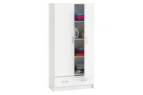 Skříň policová 2 dveře + 1 zásuvka BEST bílá Úložné prostory - Skříně
