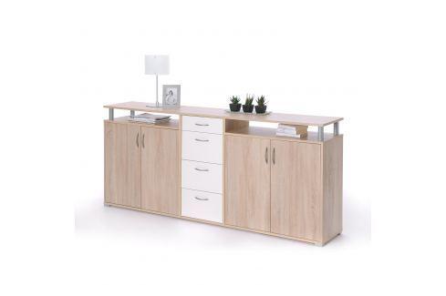 Prádelník MAXIMO dub Sonoma/bílá Úložné prostory - Komody