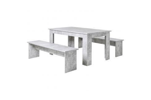 Jídelní sestava MUNCHEN 140 beton Pokoj a jídelna - Stoly a stolky - Jídelní stoly
