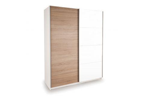 Skříň s posuvnými dveřmi DECOR 150 bílá/dub Úložné prostory - Skříně
