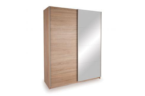Skříň s posuvnými dveřmi DECOR 150 dub/zrcadlo Úložné prostory - Skříně