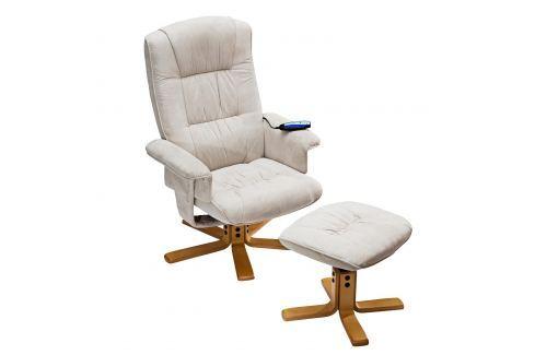 Relaxační masážní křeslo s podnožkou béžové K36 Křesla