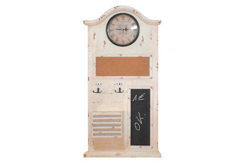 Memo tabule s hodinami bílá antik Ložnice - Bytové doplňky
