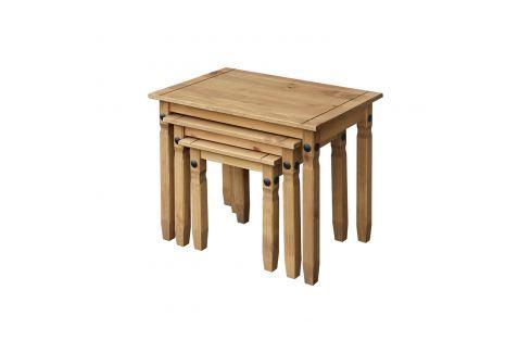 Sada 3 stolků CORONA vosk Pokoj a jídelna - Stoly a stolky - Konferenční stolky